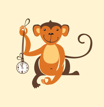 Monkey clock. Vector illustration. Illustration