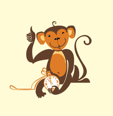 Monkey fun to clock. Vector illustration. Illustration