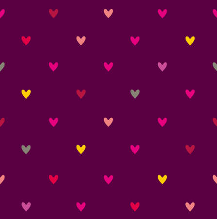 dark purple: Seamless pattern with little hearts on a dark purple background.
