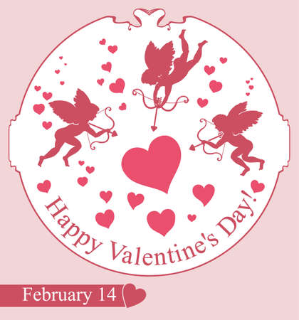fourteenth: Card Happy Valentines Day. Cupids aim at the heart. Illustration
