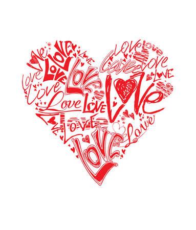 Fatto a forma di cuore a mano la parola amore. Red template vettoriale piatta.