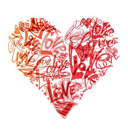 scribble: Love heart shape scribble written symbol.