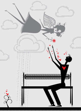 Love illustration. Man in love and angel girl.