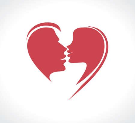 Paar in een gepassioneerde kus. Flat vector template.