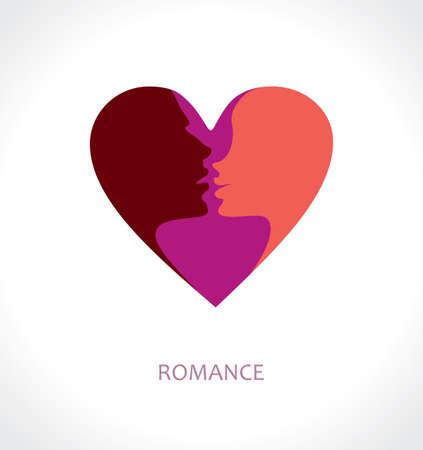 Romance. Vector symbool hart gezicht silhouetten van mensen in hartstochtelijke liefde.