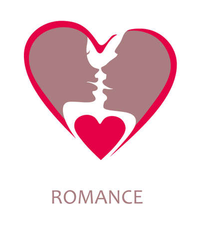 Symbol faces men and women before the kiss. Flat heart shape vector template