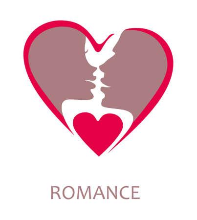 Symbool staat voor mannen en vrouwen voor de kus. Flat hartvorm vector template Vector Illustratie