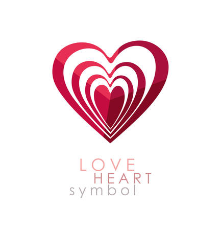 Heart reiteration inside itself. Optical illusion. Vector icon love symbol. Illustration