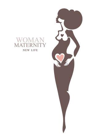 Maternity. Beautiful pregnant woman. Vector template idea for the logo. Illustration