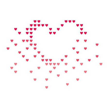 curtailed: Heart curtailed in the form of small hearts segments. Illustration