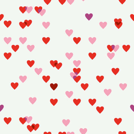 Seamless pattern of red hearts shimmer.