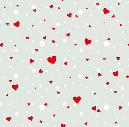 Seamless pattern of red hearts and white polka dots.