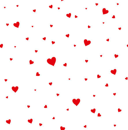 beguin: Seamless pattern of red hearts. Flat design.