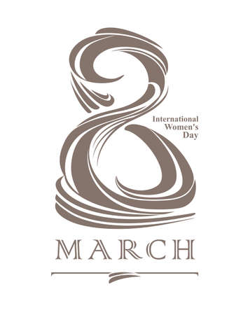 march 8: March 8. Flat vector template. International Womens Day.