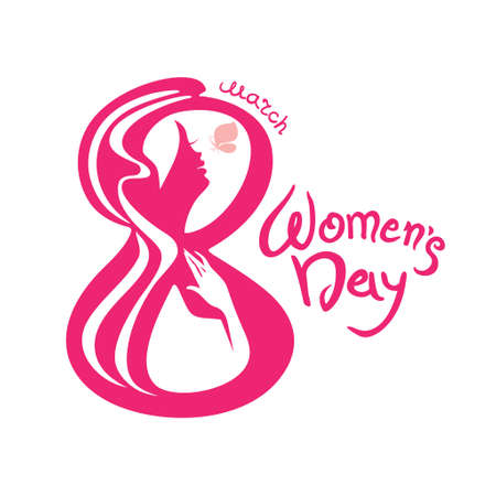 march 8: March 8. Woman with butterfly in the symbol 8. Calligraphy vector template. Illustration