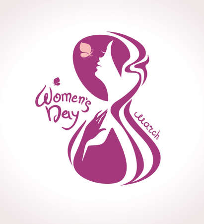 march 8: March 8. Woman with butterfly in the symbol figure eight. Calligraphy vector template.