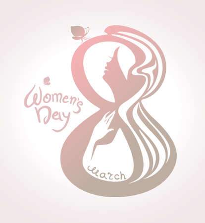 March 8. Woman with butterflys. Vector template pearl color. Illustration
