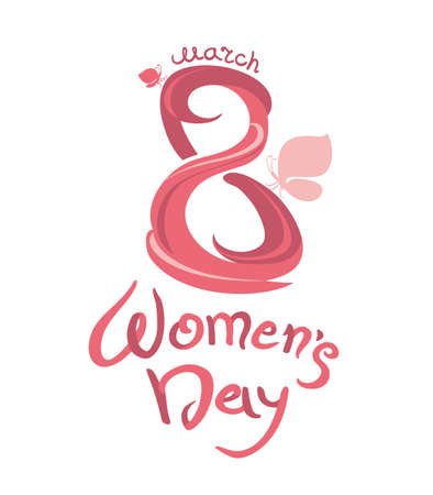 march 8: March 8. Womens Day. Calligraphy vector template labeled and butterflies.