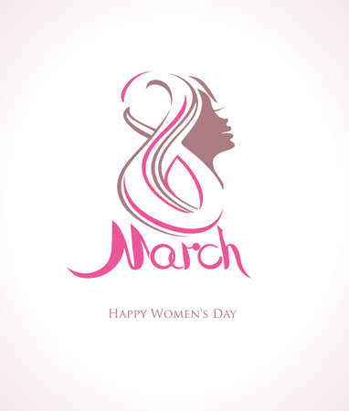 March 8. Happy Womens Day symbol with woman face Illustration