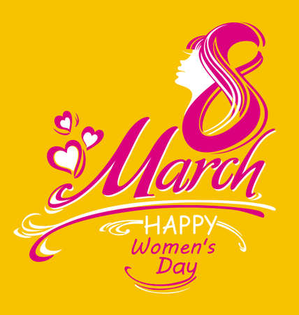 Happy womens day card design. March 8. Greeting background. Stylish vector illustration. Illustration