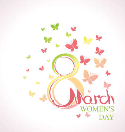 Womens Day card with butterflies. March 8. Illustration