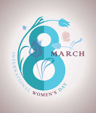 march 8: March 8. Happy Womens Day. Spring symbol Eight with flower and butterflies. Vector template of card, poster, postcard, invitation.
