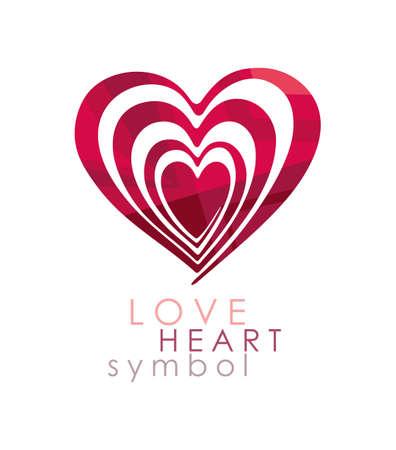 Love Heart Symbol. Optical illusion reiteration deep inside itself.