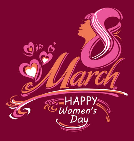 Happy womens day. March 8. Greeting card. Stylish vector illustration.