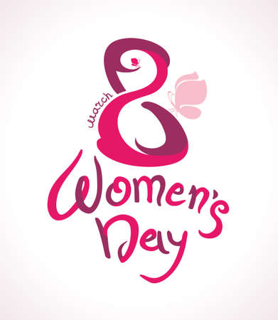 march 8: March 8. Womens Day. Card with handwriting and pink butterflies. Illustration