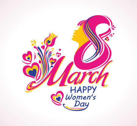 March 8. Beautiful symbol of Womens Day. Happy womens day. Greeting card. Stylish vector illustration.