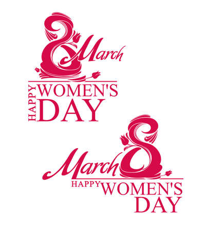 march 8: March 8. Happy Womens Day. Two vector template.