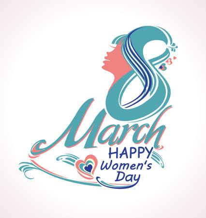 March 8. Stylish vector symbol. Happy womens day.