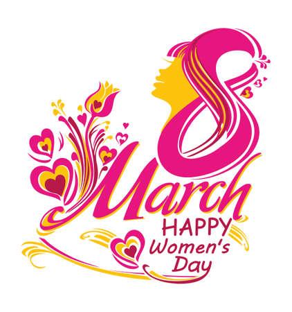Beautiful symbol March 8. Happy womens day. Greeting card. Stylish vector illustration. Illustration