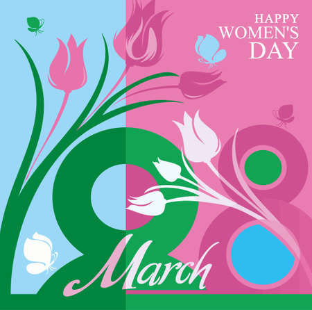 march 8: March 8. Beautiful vector card with flowers and butterflies for the spring holiday.