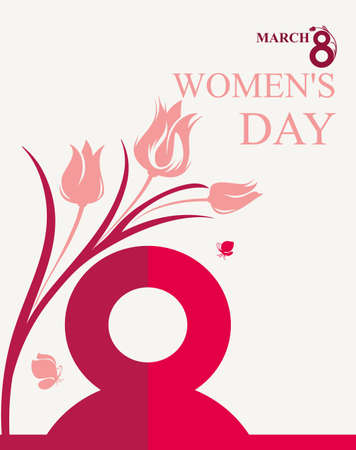 march 8: March 8. Womens Day design with flowers and butterflies. Vector template of banner, placard, poster, postcard, invitation.