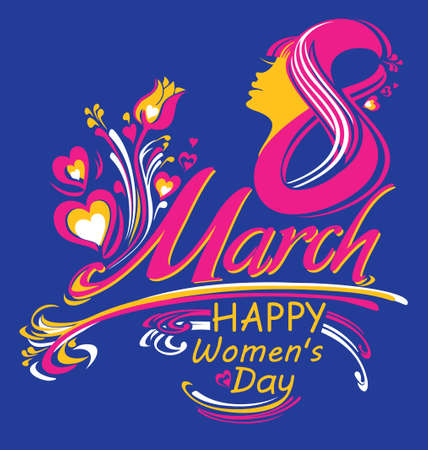 Happy womens day. March 8. Bright gift card. Stylish vector illustration. Greeting background.