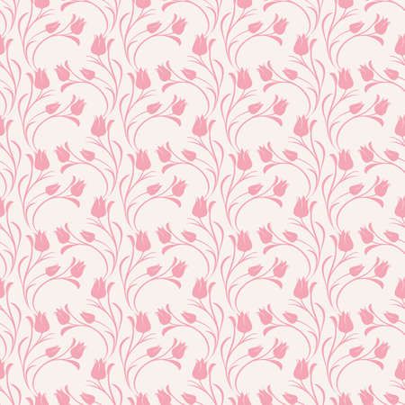 Tulips dusty pink seamless pattern.