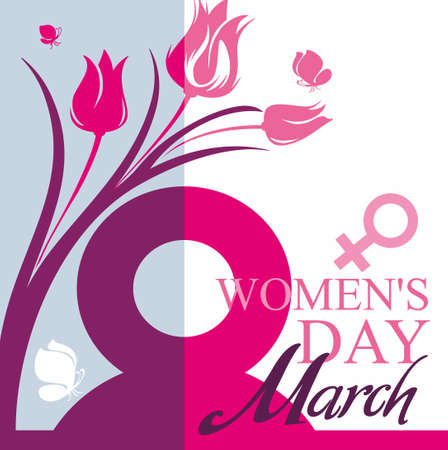 March 8. Womens Day card with tulips and butterflies. Vector template of banner, poster, postcard, invitation.
