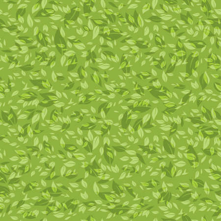 Seamless pattern chaotic green leaves.