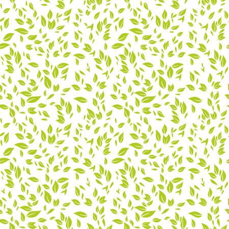 Seamless template vector green leaves.
