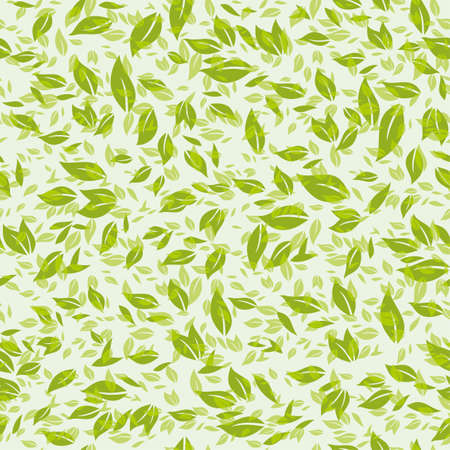 Seamless pattern chaotic light green leaves.
