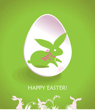 Happy Easter greeting card with cute bunnies and Easter eggs. Illustration