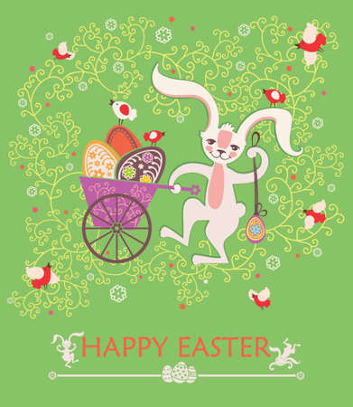 Cute Easter bunny with pushcart Easter eggs. Beautiful spring card.