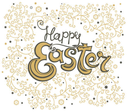 Happy Easter vintage card. Beautiful floral vector illustration for holiday.