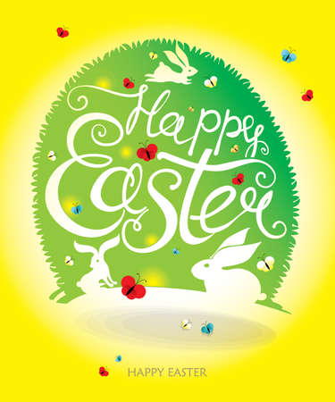 Greeting card with grass Easter egg and handwritten inscription Happy Easter.