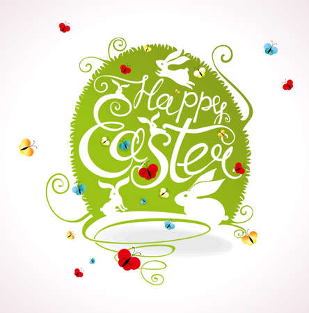 Greeting card with green grass Easter egg and handwritten inscription Happy Easter.