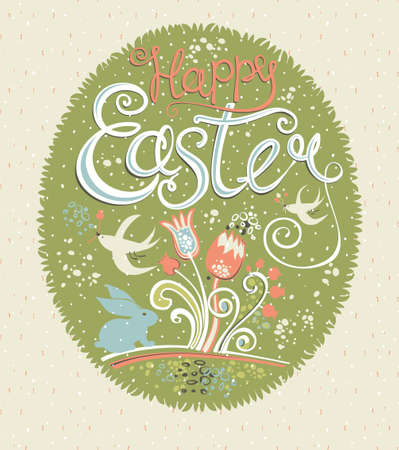 Happy Easter. Vintage greeting card. Gift egg with grass, flowers, easter bunny and swallows. Vector illustration for holiday.