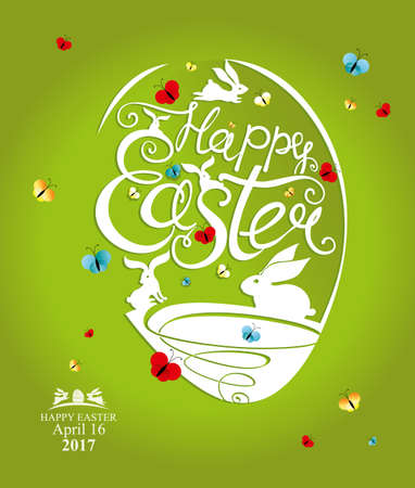 Greeting green postcard with Easter egg and handwritten inscription Happy Easter, bunnies and butterflies.