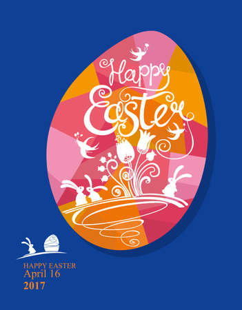Greeting card with bright Easter egg with cute pattern of inscriptions, flowers and Easter bunnies.  イラスト・ベクター素材