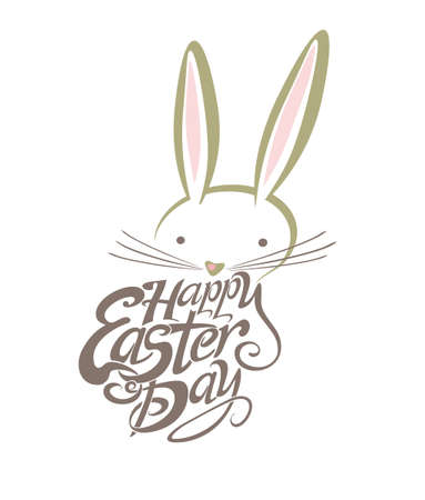 Happy Easter Day, text and bunny peeking out as Easter logotype. Hand sketched lettering typography.